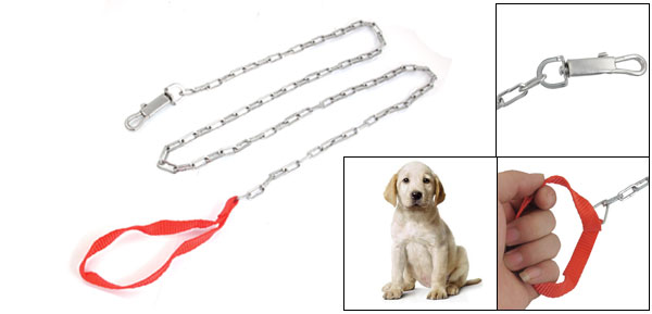 1.62M Long Silver Tone Metal Dog Collar Choke Chain Pet Lead