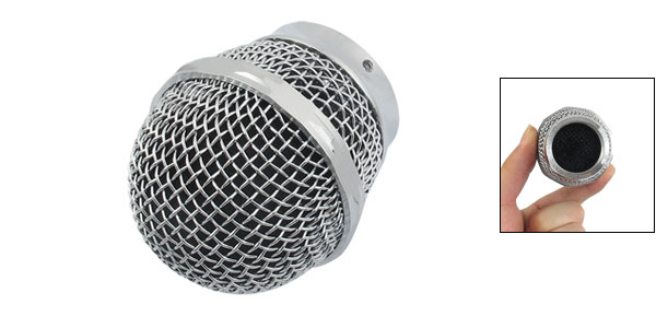 Silver Tone Dynamic Mic Microphone Grille Ball Head Round Replacement