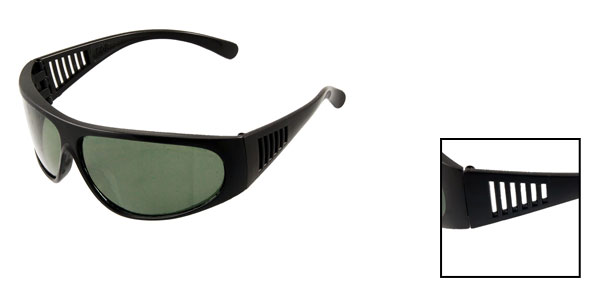 Black Plastic Oval Dark Green Lens Full Frame Sunglasses for Man