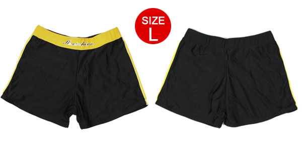 Children Boy Black Yellow Drawstring Elastic Waist Swim Pants Trunks US L