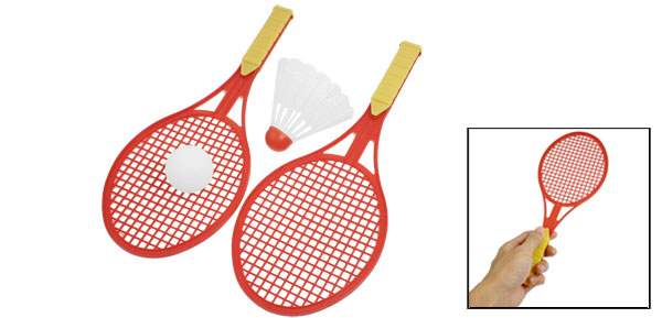 3 in 1 Orange Handle Red Plastic Shaft Badminton Racket Pingpong Shuttlecock set