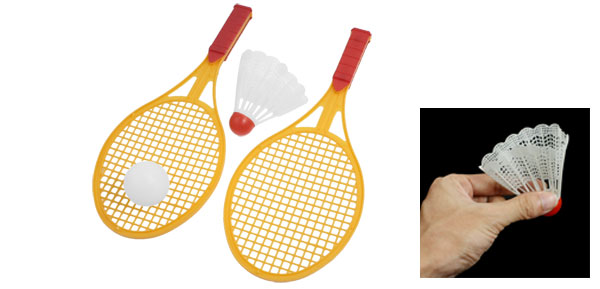 3 in 1 Red Handle Orange Shaft Badminton Racket Pingpong Shuttlecock set