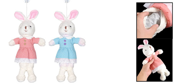 Auto Blue Red Plush Rabbit Air Freshener Bamboo Charcoal Doll Package Bag 2 Pcs