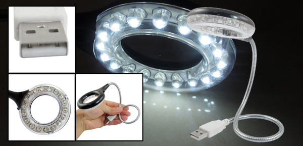 White Lamp 18 LED Flexible Gooseneck PC Laptop USB Light