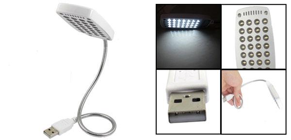 Plastic Shell White 28 LED Flexible Gooseneck USB Lamp Light