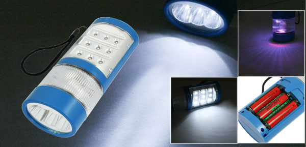 Blue Plastic Shell Batteries Powered 3 Modes 14 LEDs Buld Flashlight Torch