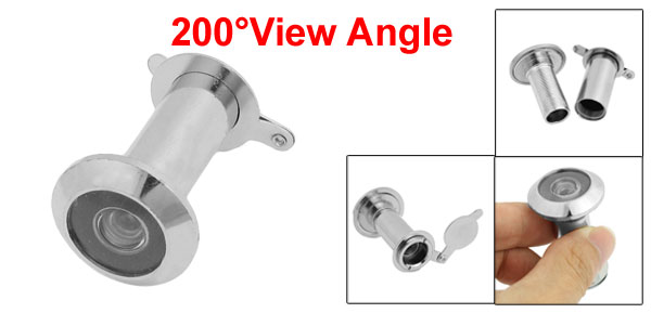 Security 200 Degree Door Scope Viewer Cover Peep Hole Silver Tone