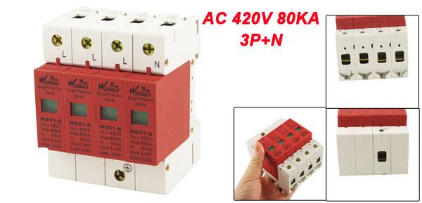 AC 420V 80KA t 40KA 3P+N Din Rail Mount Surge Protection Device Arrester