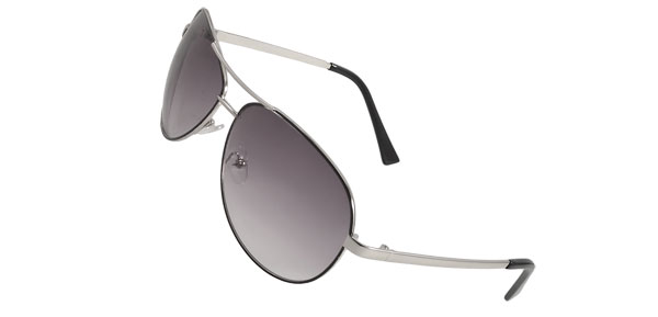 Black Silver Tone Frame Teardrop Shaped Lens Sunglasses for Men