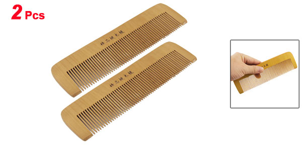 2 Pcs Natural Wood Healthy Hair Care Toothed Combs