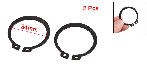 2 Pcs Black Metal External Circlip Snap Ring for 34mm Axle Shaft