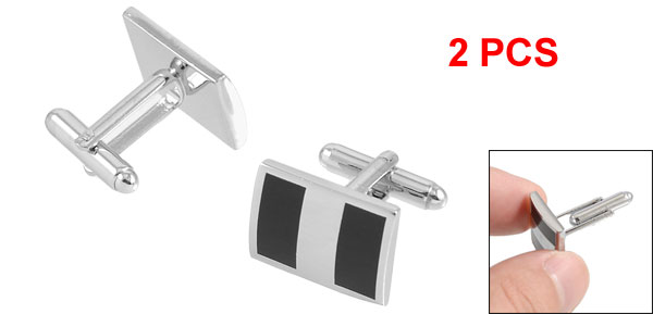 Pair Black Striped Rectangle Metal Mens Shirt Sleeve Button Cufflinks
