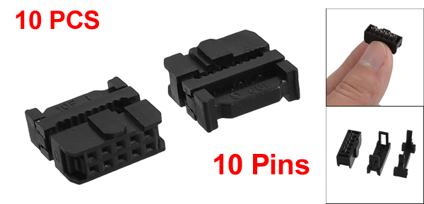 10 x 2.54mm Pitch Female 10 Pins 10P Flat Cable IDC Socket Connector Black