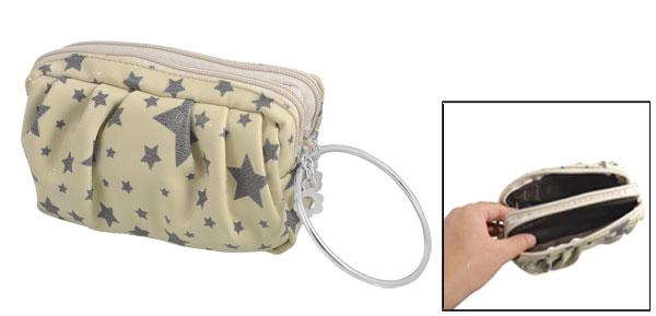 Gray Star Prints Double Deck Zip Closure Faux Leather Handbag Purse Beige