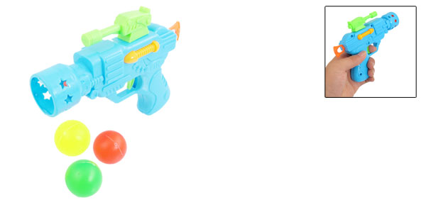 Children Blue Plastic Gun Toy w 3 Pcs Table Tennis Balls