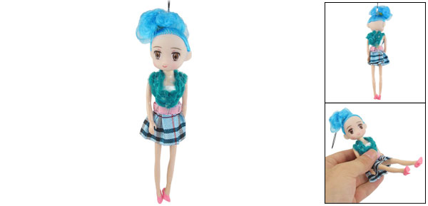 Blue Stripe Skirt Girl Toy Doll Pendant for Handbag Keychain Cellphone