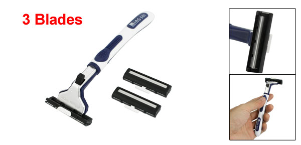 Men White Blue Non-slip Plastic Handle Manual Shaver w 3 Blades