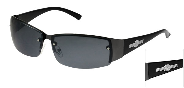 Gray Rectangle Lens Black Width Plastic Arms Sports Sunglasses for Men