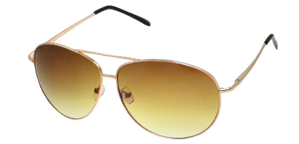 Metal Brass Tone Full Rim Amber Teardrop Lens Travel Sunglasses for Men