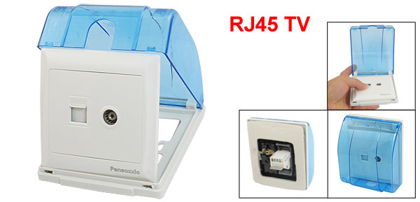 RJ45 Computer TV Television Wall Outlet Plate w Blue Clear Splash Proof Box