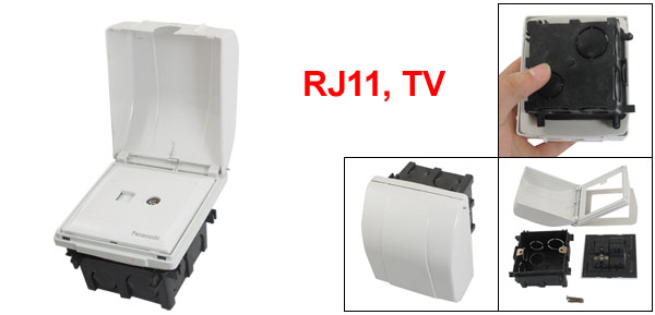 White Panel Cover RJ11 Telephone TV Television Wall Outlet Plate w Flush Mount Base
