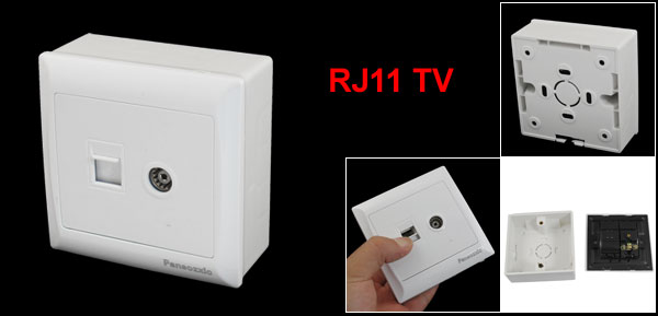 White RJ11 Telephone TV Television Network Wall Outlet Plate w Mount Box