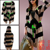 Ladies Front Opening 3/4 Sleeve Horizontal Stripes Hooded Knit Co...