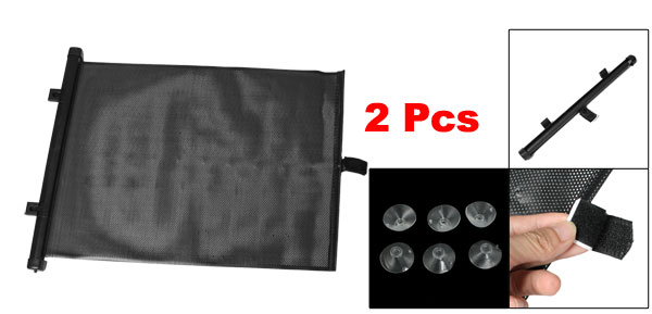 2 Pcs Roll Up Perforated Shade Black for Car Rear Side Window