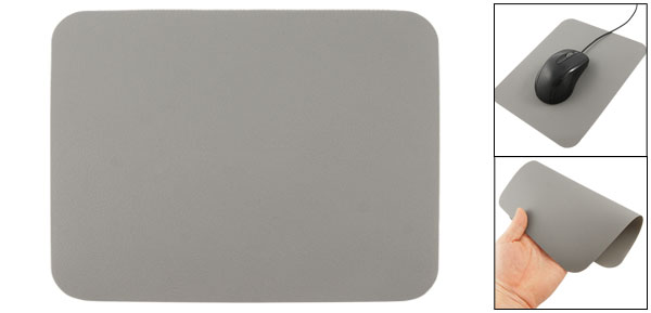 Computer Soft Silicone Smooth Desktop Mouse Pad Mat Gray 21.5 x 17.5cm