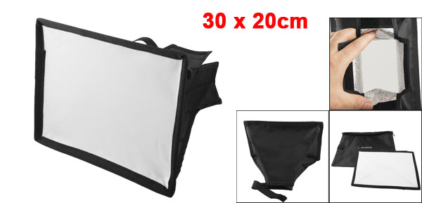 Black Portable Soft Box Flash Diffuser 20 x 30cm for Digital SLR Camera