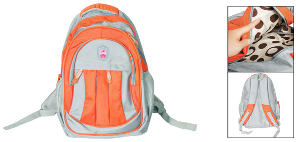 Orange Gray Zipper Closure Adjustable Wide Shoulder Strap Hiking Bag