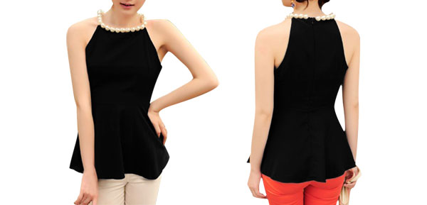 Ladies Black Round Neck Sleeveless Pleated Hem Pullover Blouse XS