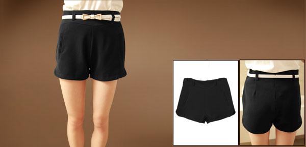 Ladies Low Rise Slim-fit Black Slacks Shorts With Faux Leather Belt S
