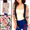 Ladies Multicolor Floral Printed Half Sleeve Chiffon Blazer XS