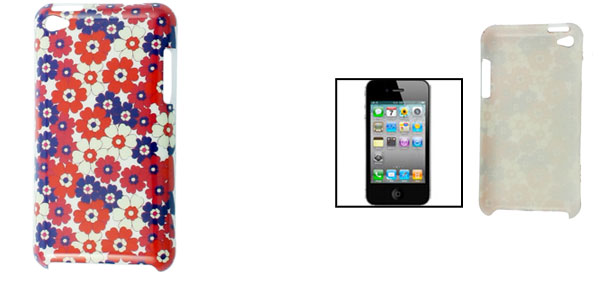 IMD Flowers Pattern Hard Plastic Back Case Protector for iPod Touch 4