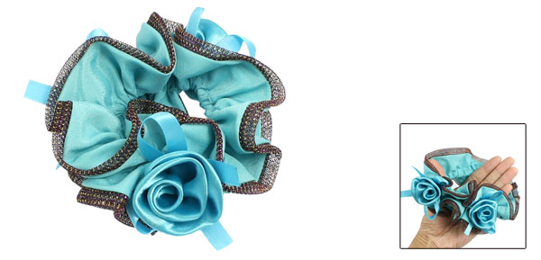 Rose Flower Detail Cyan Stretchy Ponytail Holder Hair Tie Band