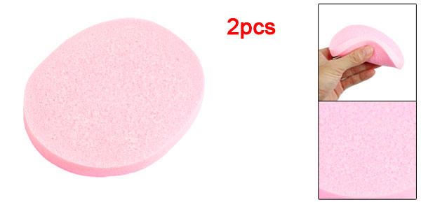 Cosmetic Makeup Sponge Oval Washing Pad Cleansing Facial Cleaning Pink 2 Pcs