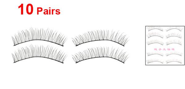 Women Nylon Cosmetic False Fake Eyelashes Black 10mm Length 10 Pairs