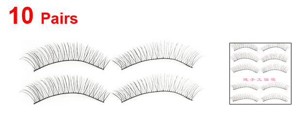 10 Pairs Party Beauty Tool Long Curly False Eyelashes Black for Ladies