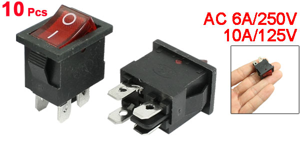 AC 6A/250V 10A/125V Red Light 4 Terminals ON/OFF DPST Boat Rocker Switch 10 Pcs