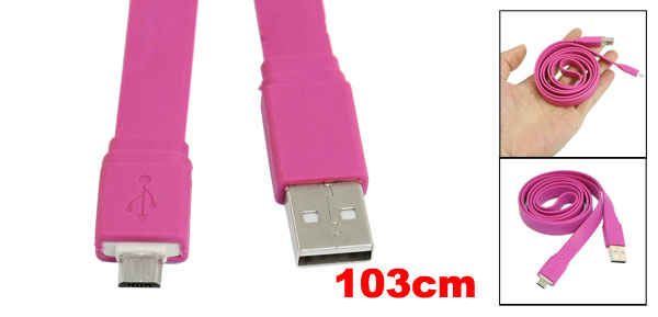 Fuchsia Flat 3.4ft Micro 5 Pin USB Data Sync Charger Cable for HTC