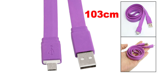 Purple Flat 3.4ft Micro 5 Pin USB Data Sync Charger Cable for HTC