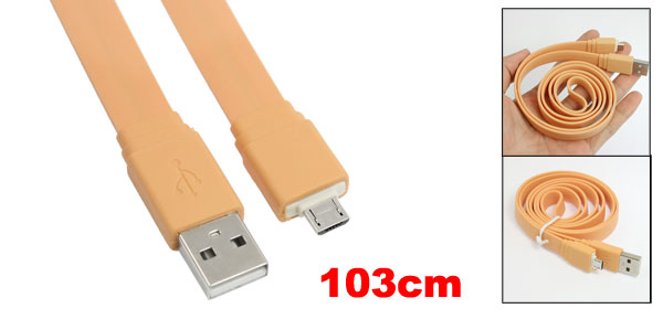 Orange Flat 3.4ft Micro 5 Pin USB Data Sync Charger Cable for HTC