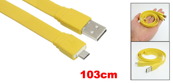 Yellow Flat 3.4FT Micro 5 Pin USB Data Sync Charger Cable for HTC