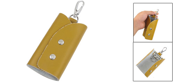 Yellow Purse Shape Faux Leather Cover Keychain Keyring Holder Bag Case