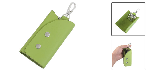Green Rectangle Faux Leather Keychain Keyring Holder Bag Case