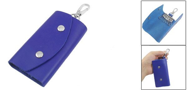 Royal Blue Faux Leather Cover Keychain Keyring Holder Bag Case