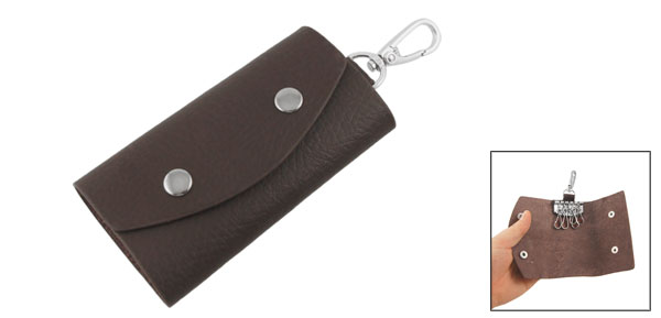 Dark Brown Faux Leather Press Stud Car Keys Storage Bag