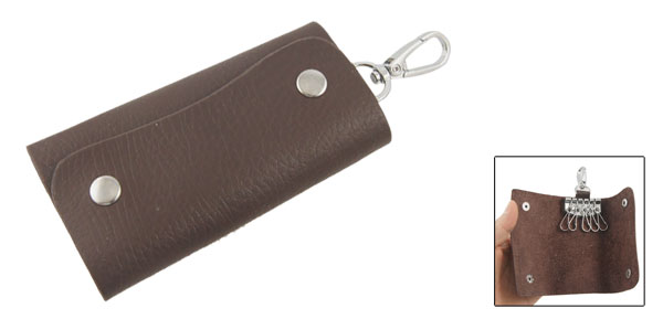 Dark Brown Faux Leather 5 Hooks Car Keys Storage Bag Holder