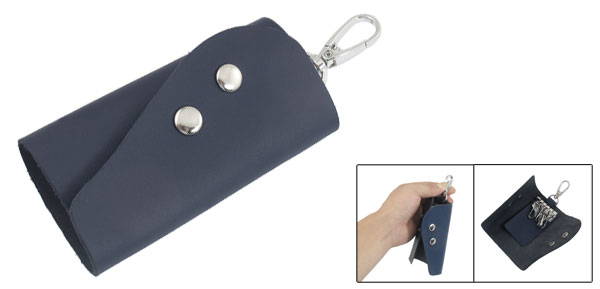 Steel Blue Faux Leather Rectangle 5 Metal Hooks Key Bag Holder Case Organizer